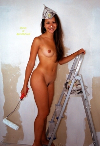 nude-brunette-on-ladder-painting-wall-215